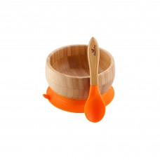 Avanchy Bamboo Suction Baby Bowl + Spoon (Orange)