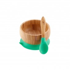 Avanchy Bamboo Suction Baby Bowl + Spoon (Green)