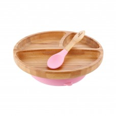 Avanchy Bamboo Suction Toddler Plate + Spoon (Pink)