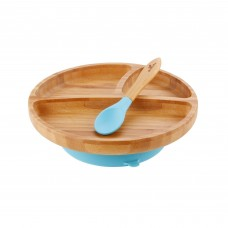 Avanchy Bamboo Suction Toddler Plate + Spoon (Blue)
